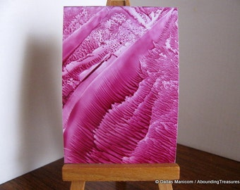 ACEO Marsala Roots II - Encaustic Wax Original Art - Magenta, Maroon. SFA (Small Format Art)