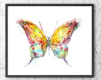 Original watercolor art print, butterfly watercolor print, animal art, colorful watercolor butterfly, wall hangings, home decor - F220