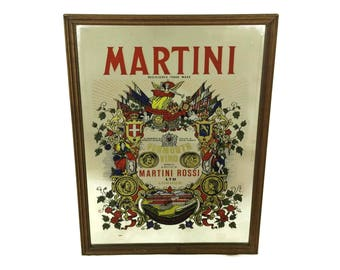 Vintage Martini and Rossi Vermouth Advertising Mirror. Man Cave Pub Home. Retro Bar Decor. Collectible Breweriana.