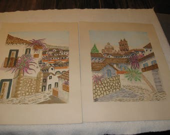 Taxco Mexico 2 watercolors signed Taxco  Krayem vintage Street Scenes