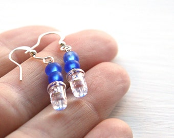 Statement Jewelry Tiny Clear LED Wearable Tech Computer Earring Blue Geeky Earrings Eco Friendly Earrings Electronics Sterling Silver