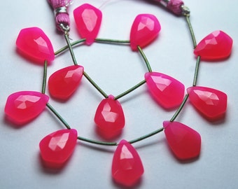 9 Inches Strand -Hot Pink Chalcedony Faceted Kite Briolettes Size 14-15mm Approx