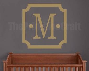 Monogram Wall Decal - Scalloped Square, Wall Decor, Vinyl Wall Decor, Bedroom Decal, Nursery Decor, Family Monogram, Name Decal