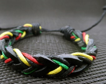 Handmade Rasta Leather Bracelet- Rasta Colors Flag