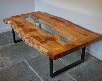 Live edge English Elm and glass coffee table