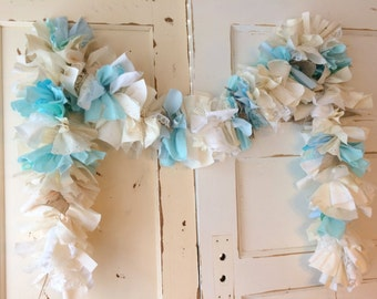 Boys Baby Shower Garland.  Burlap and Blue Baby Shower Decoration.  6-10 foot fabric Garland.  It's a Boy!