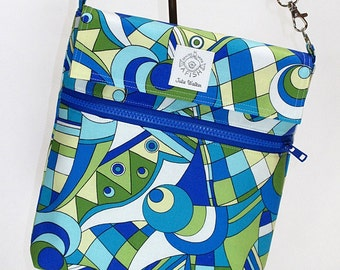 Padded iPad Cozy with Cross Body strap in Funky Blue Green and White