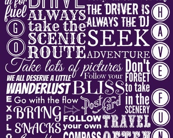 Road Trip Rules, Instant Download, Printable Art, Typography Print, Travel Poster, Wanderlust Art, Inspirational Quote