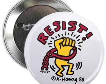 "Resist Keith Haring 1.25"" Pin Election Pin Pinback Graffiti Pins Political Raised Fist Button"