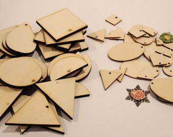 Set 3 mm and 6 mm 2037 embellishment for your creations wooden shape