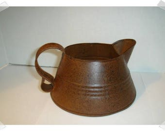 Rusty Metal Short Wide Pitcher w/Handle/ Home Decor/ Supplies*