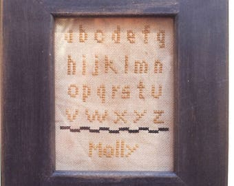 Primitive cross stitch, sampler chart/pattern,primitive needlework, schoolgirl sampler, early American , Molly
