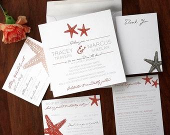 Starfish Invitations, Wedding Invitations, Invitation Set, Beach Wedding, Summer Wedding, Playful Invite, Simple /Starfish Square/AV8418