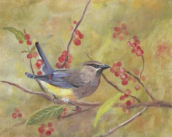 Cedar Waxwing bird is a reproduction of my original painting ACEO