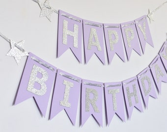 Purple and Silver Birthday Banner, Birthday Party Decor, Photo Prop