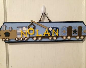 Custom Personalized Train Name Plaque - Boys Name Sign - Boys Train Decor