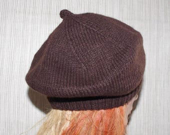 Cashmere Brown Thick Warm  Hand Knit Beret