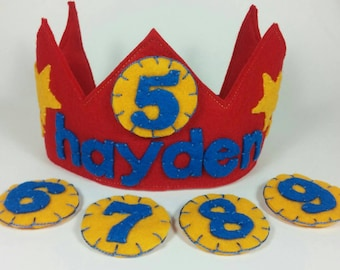 Personalized Felt Birthday Crown, Multiple Numbers