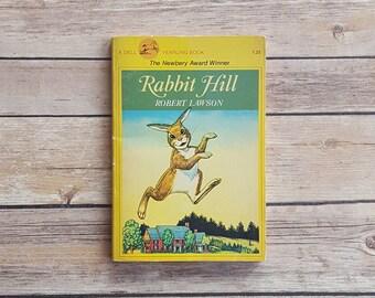Rabbit Hill Easter Book Gift Robert Lawson Kids Rabbit Book Yellow 70s Vintage Children's Story Animal Chapter Book Cheerful Garden Tale