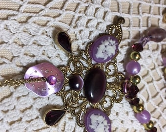 Purple Custom Made Steampunk Necklace Cannot Describe Must Look
