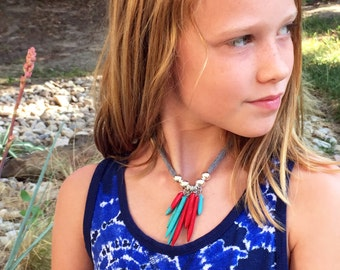 red & turquoise spiky cluster with silver  and grey cotton jersey
