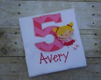 Fairy Birthday Shirt, Personalized Fairy Shirt, Custom Fairy Shirt, Fairy Girl Shirt, Embroidered Fairy Shirt