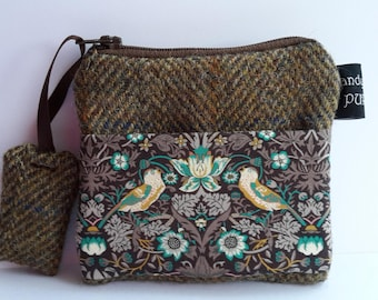 Harris Tweed Brown Pocket Coin Purse with Liberty of London Strawberry Thief Print Fabric, William Morris, #valentinesdaygifts