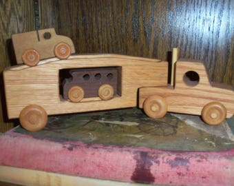 Vintage Hand Carved Wooden Car Carrier Truck Toy Play Kids Children