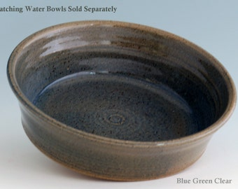 Pet Food or Water Bowl JUMBO Giant Breed Dog Ceramic Stoneware Handmade High Quality Pottery Five Sizes in tan blue black white or green