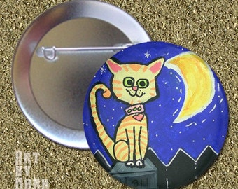 One Night Stand  cute cat kitty  Pinback Button