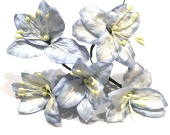 Light Blue Mulberry Paper Lillies Lil004