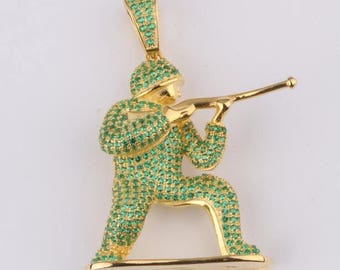 Military Soldier Pendant 14k Gold Plated on 925 Sterling Silver with AAA Cubic Zirconia