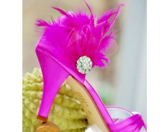 Shoe Clips Set Fuchsia / Fuschia Hot Pink Feathers Rhinestone. Bride Bridal Bridesmaid Couture, Chic Statement Edgy Bold, Cocktail Burlesque