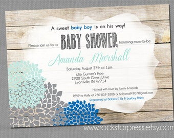Blue Baby Boy Shower Invitation, Rustic Wood Plank Blue and Mint Baby Shower Invite, Digital File,  PRINTABLE _1254