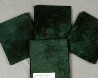 Dark Green Hand-Dyed Quilting Cotton Fat Quarter
