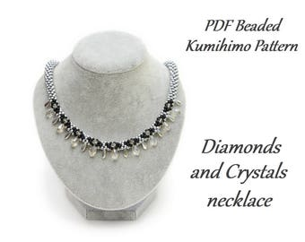 PDF Beaded Kumihimo Pattern - Diamonds and Crystals Kumihimo necklace – bead layout instruction tutorial