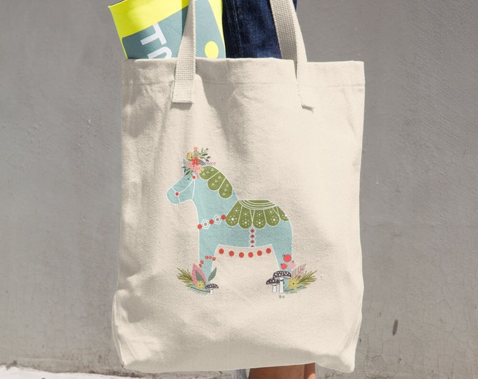 Dala Horse Cotton Tote Bag, Reusable Tote, Reusable Bag, Cloth Bag