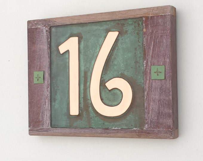 """Mission Mackintosh, Oak framed Copper address plaque, 2 x nos 6""""/150mm high house numbers polished, patinated and lacquered"""