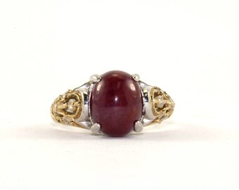 Vintage Oval Rubellit CZ Crystals Inlay Ring 925 Sterling Silver RG 1360