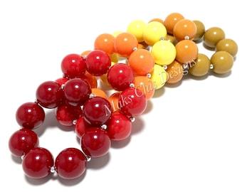 Toddler or Girls Solid Color Chunky bracelets - Maroon, Red, Orange, Mustard, Olive Bracelet - Toddler Bracelets - Bubblegum Bracelet