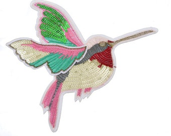 x 1 patch applique embroidered large oiseau(coté gauche) sewing 18 x 17.5 cm @A33