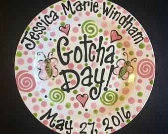 Happy Gotcha Day Plate -  12 Inch Adoption Ceramic Plate