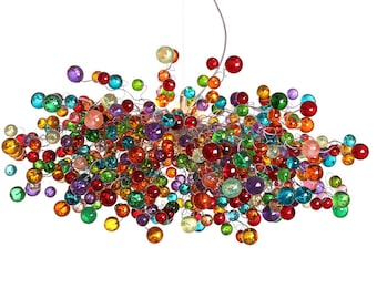 Rainbow Light. Hanging chandeliers with multicolored bubbles - statement lighting with rainbow balls for Dining Room , living room.