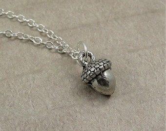 Acorn Necklace, Silver Acorn Charm on a Silver Cable Chain