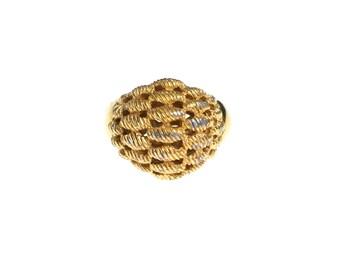Vintage Gold Basket Weave Statement Ring by Monet