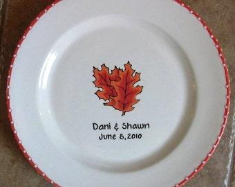 WEDDING GUEST BOOK  Alternative - Guest Book Plate - Wedding Signature plate - Oak Leaf
