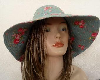 Rose motiv cotton summer sun hat, Sun hat, travel hat, wide brimmed summer hat, cotton sunhat, beach wear, Active style