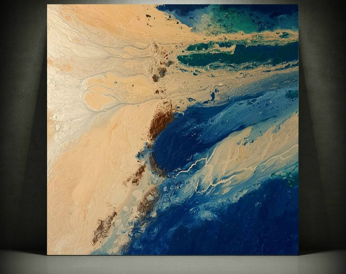 Blue Painting 36 x 36 Abstract Painting Acrylic Painting Abstract Wall Art Large Wall Art Canvas Coastal Home Decor Wall Hanging Canvas