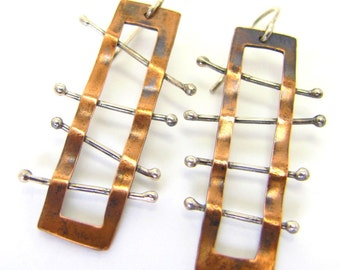 Long ladder bamboo earrings
