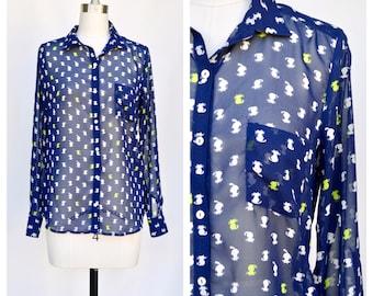 CAT print button up shirt / medium